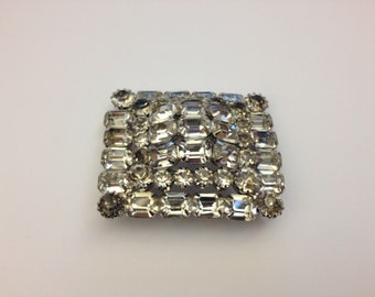 big 3D square rhinestone brooch