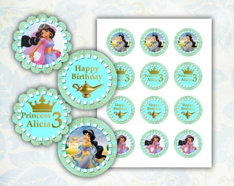 Jasmine Happy Birthday cupcake toppers 2 inch images Printable