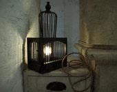 black birdcage lamp