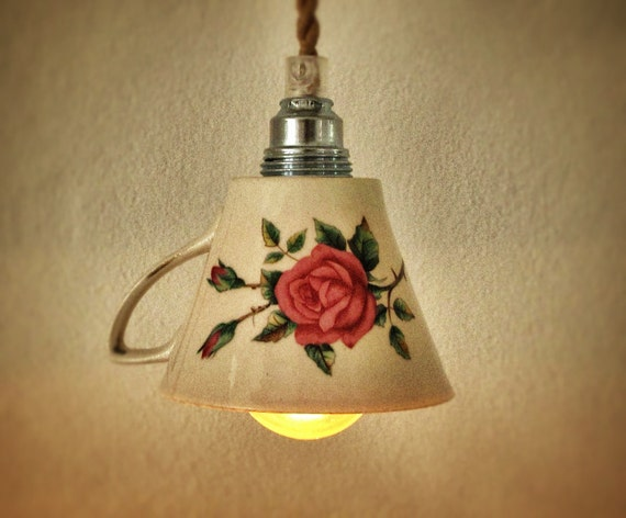 vintage teacup lamp with roses