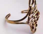 Unusual 80s Vintage Brass and Copper Cuff Bracelet