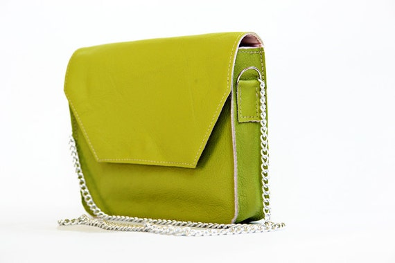 Mini Crossbody Bag in Lime Green Leather With Chain