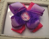 Helllo Kitty Inspired Hot Pink & Purple Bottle Cap Boutique Bow