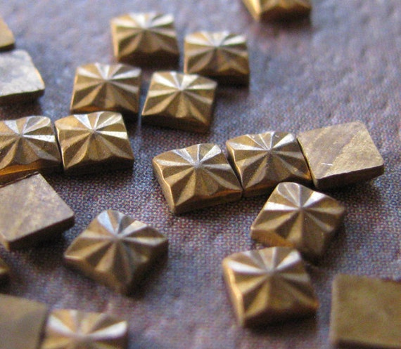 Tiny Raw Brass Square Stamping Flat Backed Embellishments 3mm