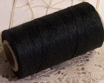 Polished Linen Cord Black 0,9 mm Spool 130 m for Crafts Jewellery Office Garden