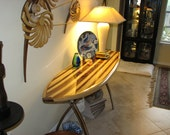 Handcrafted wood surfboard