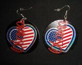 hand made, hand painted and decorated, round, red, white, blue, black wooden OBAMA earrings