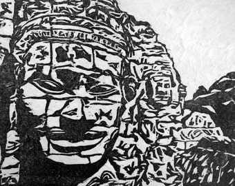 Faces in Stone woodcut relief print (Cambodia Series)