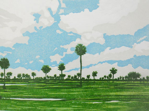 The Rice Fields linocut relief print (Cambodia Series)