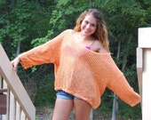 Orange Open Knit Slouch Sweater