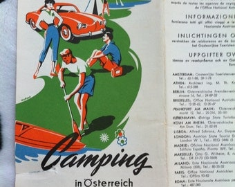Vintage Retro 1956 Camping in Austria maps (scrap-booking - crafting - card making)