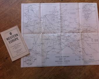 Retro Vintage AA Touring Map of Western Europe (scrapbooking, papercraft etc)