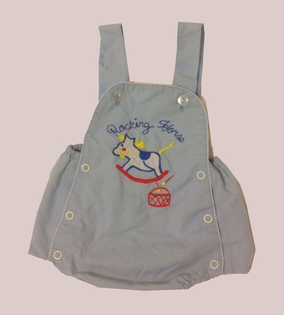 """Baby Blue """"Rocking Horse"""" Coveralls"""