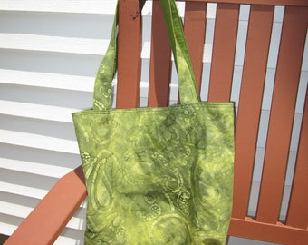 Green Paisley Batik Cotton Tote Bag