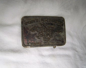 Pony Express Belt Buckle Vintage Metal Belt Buckle