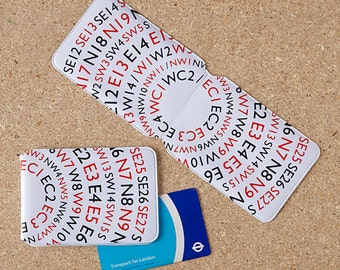 Postcode Lottery Oyster Card Holder / London Oyster Card Holder, London Travel Card Holder, Oyster, Oyster card, London Postcode, London