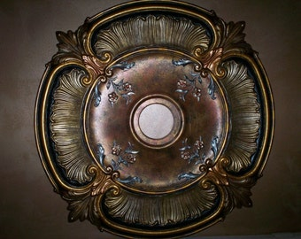 Hand painted decorative metallic ceiling medallion