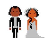 Custom pixel couple portrait