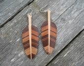 Wood feather earrings - Walnut, Maple, Tennessee Red Cedar on Silver