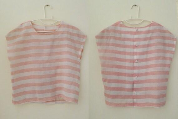 vintage pastel pink and white stripe cap sleeves crop top, spring/summer  blouse