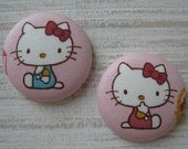 Fabric covered flat back buttons -2 color clothes Kitty