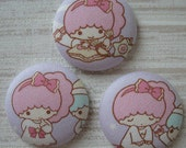 Fabric covered flat back buttons -3pcs 40mm pink  Twin stars little girl