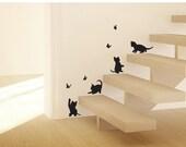 Butterfly & little cat - wall decor sticker