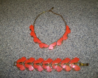 Coral Thermoset Necklace and Bracelet