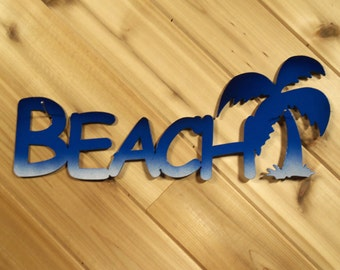 Beach with Palm Tree - Wall Words -  Blue - Metal Wall Art By PrecisionCut