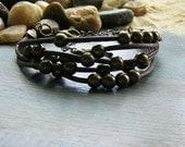 Summer beach boho fashion bracelet - multi stranded and layered waxed cotton
