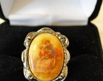 vintage silvertone ring with pastoral scene