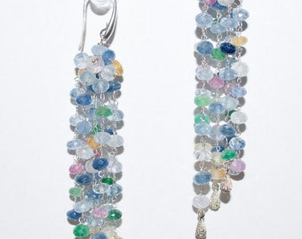 Precious Multi Color Sapphire Earrings in Sterling Silver