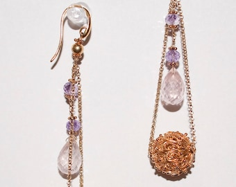 Authentic Rose-Quartz Earrings with Amethyst in Sterling Silver