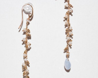 Chalcedony Earrings with Pearls in Sterling Silver