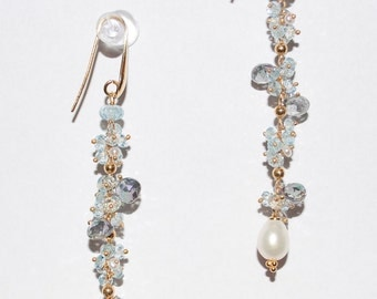 Aquamarine with Mystic Topaz and Pearls Earrings in Sterling Silver