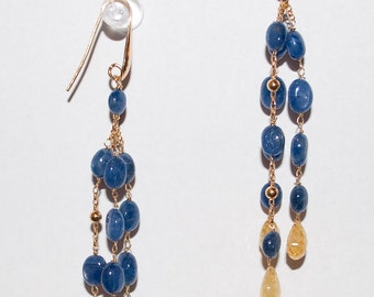 Precious Blue and Yellow Sapphire Earrings in Sterling Silver