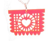 Papel Picado Laser Cut Necklace- Pink With Silver-Plated Chain