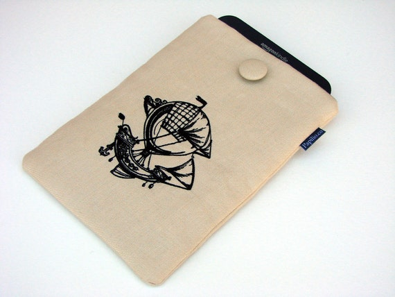Kindle Paperwhite sleeve, Kindle Fire cover,  padded Hot Air Balloon Ship,  7 inch tablet case, Steampunk, custom tablet cover