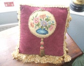 cute vintage needlepoint cushion /pillow with original french miniature tassel