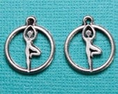 2 High quality Large Pewter Yoga Tree Pose Charms