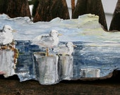 Gulls on the Pier - A Beach Painting - A Painting on Driftwood