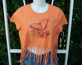 Shredded Fringed Butterfies T Shirt in Coral