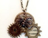 Steampunk gears necklace 3 gears copper dragonfly Handmade Gift