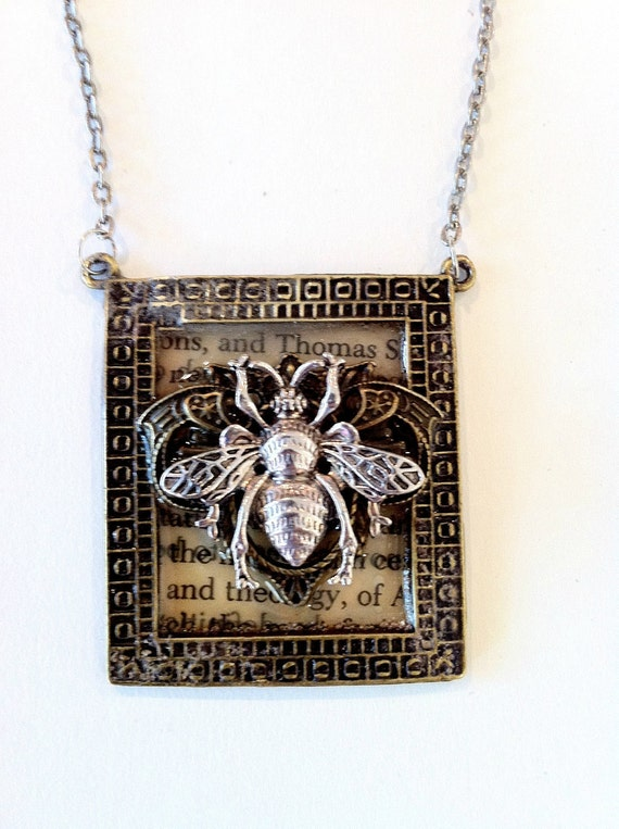 Steampunk Bee necklace mixed metal framed bee necklace