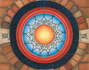 "Wrought Iron Mandala with Brick Border 8x8"" Giclee print"