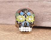 Colorful Adjustable Vintage Bronze Enamel Flower Sugar Skull Ring