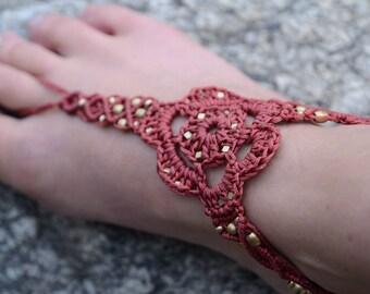 Barefoot Sandal Anklet Slave Bracelet Macrame Gypsy Hippie Bracelet Boho Belly Dance Jewelry Bronze Brass Footl