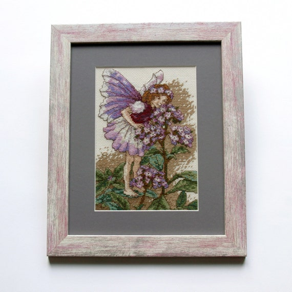Small Cross Stitch Picture, Little Fairy Girl, Floral, Fantasy Style, Handmade Cross Stitch, For Home, Gift Ideas