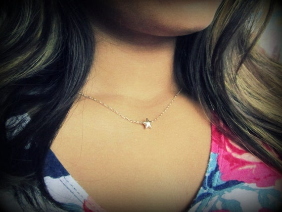 Tiny Puffy Gold Star Necklace, floating gold star on thin gold chain