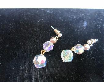 VINTAGE Dangle Cut Crystal Post Earrings - WOW
